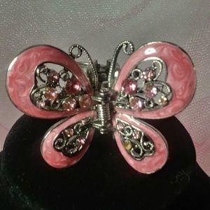 Butterfly Hair Claw Clip Pink Enamel Rhinestone